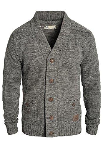 SOLID Herren Powell Strickjacke Cardigan mit V-Ausschnitt aus 100% Baumwolle Meliert, Größe:M, Farbe:Dark Grey (2890)