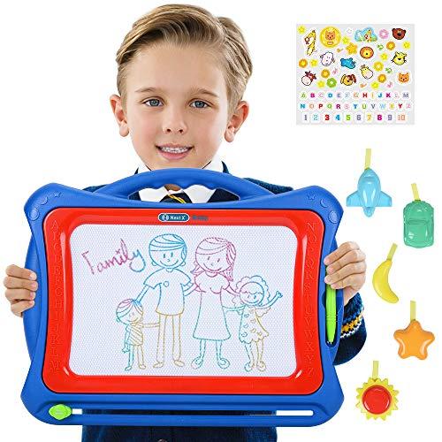 NextX Große Magnetische Maltafel Zaubertafeln für Kinder ab 3 Jahren - Pädagogische Magnettafel Spielzeug-Geschenk mit 5 Form-Stempeln und schönen Aufklebern (Für Einzigartige 4 Jährige Spielzeug)