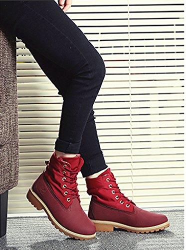 Minetom Femme Hiver Bottes Martin Bottes Chaussures Classiques Bottines À Lacets Talon Plat Lace Up Martin Boots Rouge