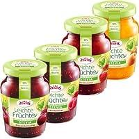 Zentis Stevia Konfitüre Testpaket 4 Sorten: Aprikose, Erdbeere, Himbeere, Sauerkirsch je235g