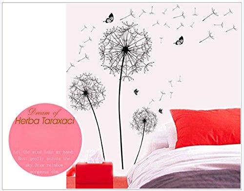 YUHUISTAR Fai da Te Home Decor Nuovo Design Grande Nero Tarassaco Wall Sticker Art Decalcomanie PVC