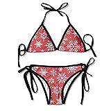 Osmykqe Modello di Natale delle Donne con Fiocchi di Neve Bianchi Stampa Costume da Bagno Bikini in Due Pezzi Sexy Beach Suit