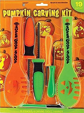 Halloween Dekoration Tools ~ 19Pc Halloween Familie Größe Jack O Laterne Kürbis-Schnitzset mit Schablonen