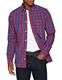 Tommy Jeans Herren Essential Mini Check  Langarm Regular Fit Freizeithemd Blau (Surf The Web / Multi 428) Large