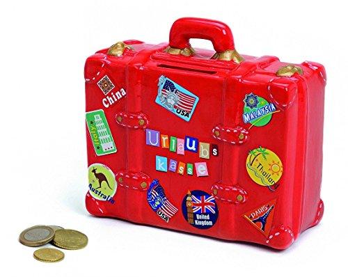 Preisvergleich Produktbild Spardose Urlaubskasse rot in Kofferform | Sparbüchse Roter Reisekoffer mit Schlüssel und Schloss | Sparschwein abschließbar