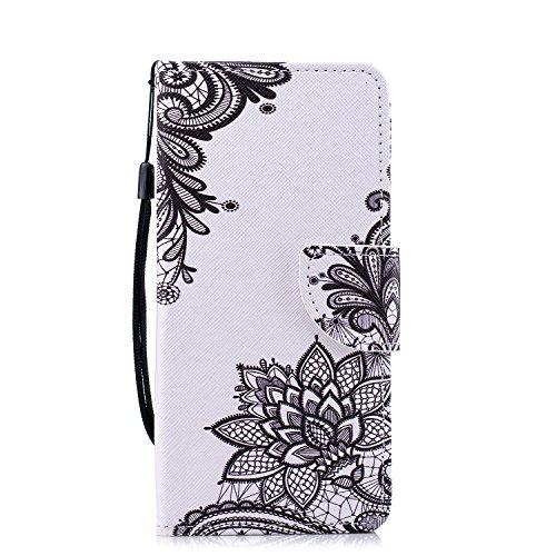 Funluna Xiaomi Redmi Note 5 Hülle, Lederhülle Stoßfest Klapphülle Brieftasche, Trageschlaufe, Ständer, Kartenfächer, Magnetverschluss Handy Shell für Xiaomi Redmi Note 5 - Schwarze Blume