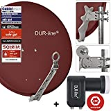DUR-line 2 Teilnehmer Set - Qualitäts-Alu-Satelliten-Komplettanlage - Select 75/80cm Spiegel/Schüssel Rot + Twin LNB - für 2 Receiver/TV [Neuste Technik, DVB-S2, 4K, 3D]