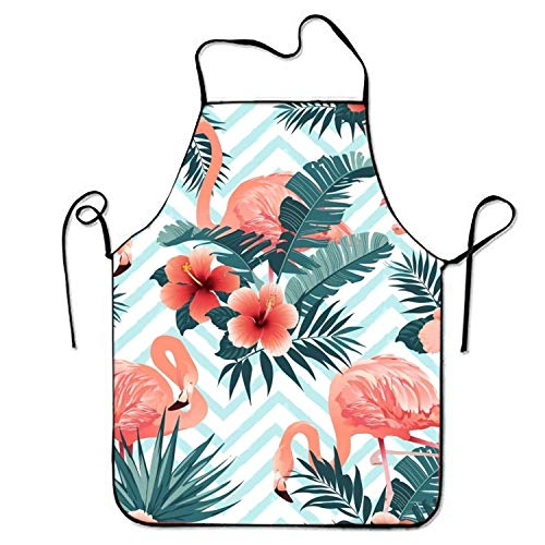 Kittel Hunde Kostüm - HTETRERW Hawaii Flamingo Bird Floral Kitchen Aprons for Women and Men Adjustable Neck Strap Restaurant Home Chef Bib Apron for Cooking BBQ Grill
