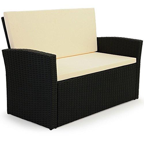 10 tlg. Polyrattan Sitzgruppe mit Glastisch – Sitzgarnitur Rattan Lounge mit 7cm dicken Sitzauflagen - 6
