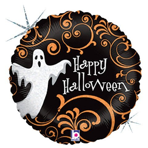 Folienballon Spukgeist Holographic Happy Halloween schwarz orange weiß rund ca. 45 cm ungefüllt (Ballongas geeignet) (Und Happy Schwarz Halloween Weiß)