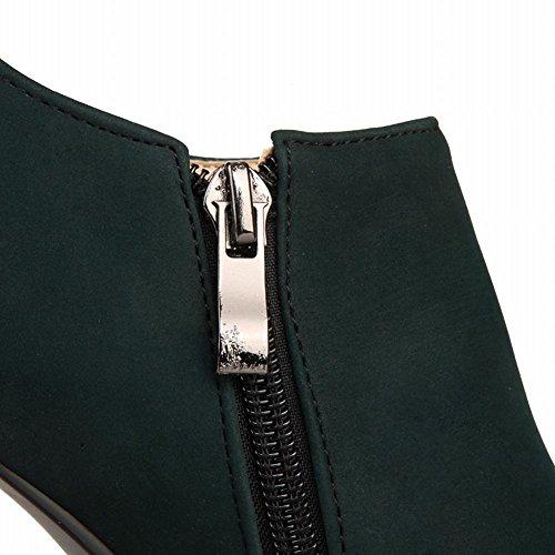 Mee Shoes Damen Reißverschluss innen Plateau high heels Ankle Boots Dunklegrün