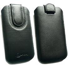 Emartbuy® Negro / Negro Premium Cuero PU Funda Carcasa Case Tipo Bolsa ( Size 3XL ) con Mecanismo de Pestaña para Estirar adecuada para Bogo LIfestyle 4SL-QC Smartphone 4 Inch