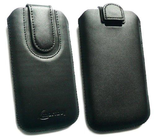 Emartbuy® Schwarz / Schwarz Premium PU Leder Slide in Hülle Tasche Sleeve Halter ( Größe 3XL ) Mit Pull Tab Mechanism Passend für Lumigon T2 HD