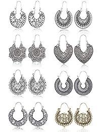 YADOCA 8 Pares De Aretes Colgantes De La Flor De La Mandala De La Flor De La Vendimia Para Las Mujeres Chica Boho Retro Tribal Hollow Earrings Set