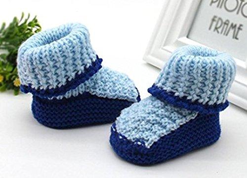 Auxma Für 0-6 Monate Baby Kleinkind neugeborene Baby-lovey Knitting Crochet Schuhe Buckle Handcrafted Schuhe Erste-Wanderschuhe (Blau) Blau