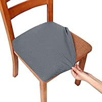 Smiry Stretch Chair Seat Covers for Dining Room, Grey 1PC Jacquard Dining Chair Seat Cushion Protectors Chair Slipcovers