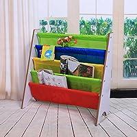 GOTOTOP Muebles para Niños Librería Estantería Infantil Estante de Almacenamiento de Juguetes Estantería de Madera con Bolsillo (Marco Blanco+Bolsillo