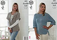 King Cole Ladies Double Knitting Pattern Womens Cardigan & Batwing Sleeve Sweater (4892)
