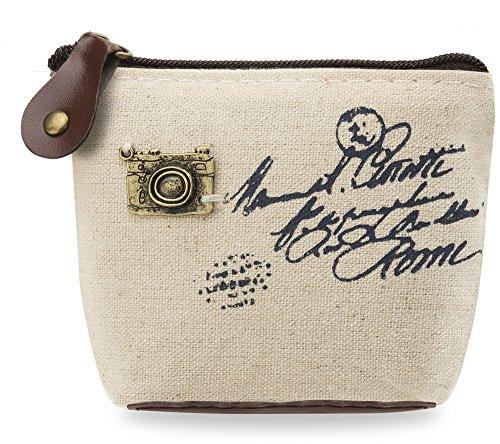 Creme-kamera-tasche (kleine Kosmetiktasche Organizer Etui Stoff - Portemonnaie Kultur-Beutel Kulturtasche Make Up Beauty-Case Schmink-Tasche creme Kamera)
