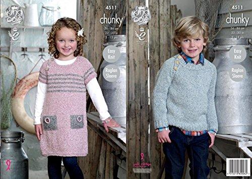 King Cole Kinder Raglan Sweater & Pullover Kleid Strickmuster 4511geschoben + Gratis Minerva Crafts Craft Guide