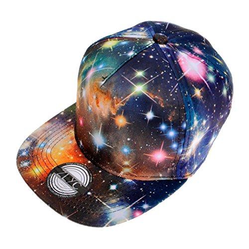 ZYLC Flatcap/Baseballm¨¹TZE, Unisex, Bedruckt, Motiv: Galaxie, Flacher Schild, gr??enverstellbar durch Druckknopflasche, Hip-Hop-Stil - Schwarz