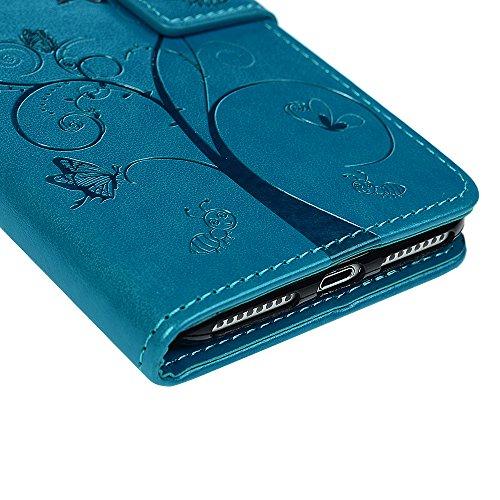 iPhone 7 Plus / iPhone 8 Plus Coque Mavis's Diary Étui Housse en PU Cuir + TPU Silicone Gel Bumper Coque de Protection Étui à Rabat Flip Phone Case Cover Antichoc Portefeuille Fente de Carte Bookstyle Bleu