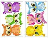 6-teiliges Kunterbunte Eulen Wandtattoo Set Mädchen Jungen Kinderzimmer Babyzimmer in 5 Größen (2x16x26cm mehrfarbig)