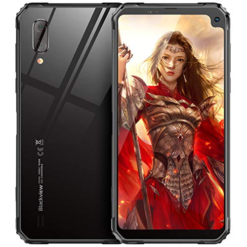 Blackview BV6100 (2019) Outdoor Handy Ohne Vertrag 6.88 Zoll HD Display 5580mAh Akku, Helio A22 3GB + 16GB, 128GB Erweiterbar, Android 9.0 8MP+5MP Dual SIM 4G IP68 Smartphone - GPS,NFC,Face ID, BT5.0