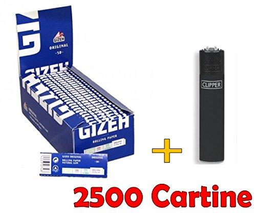 IRPot - BOX DA 50 LIBRETTI CARTINE GIZEH SUPER FINE CORTE BLU + ACCENDINO CLIPPER