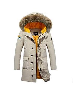 MHGAO Abajo chaqueta con capucha del abrigo de pieles del collar de los hombres largos de invierno , meters white...