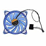 Asiproper 12cm PC Ordinateur étui Ventilateur de Refroidissement LED RGB Mute Halo Bague Hydro Bearing Ventilateur Bleu