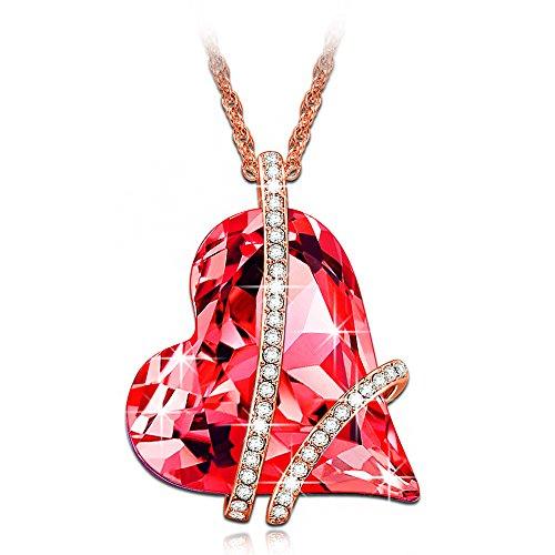LADY COLOUR Promesa Collar mujer con cristales de Swarovski rojo joyeria colgante regalos cumpleanos regalos dia de la madre regalos de san valentin regalos de Navidad color oro rosa