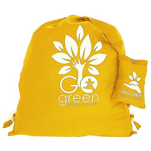 Multiuso Save the Earth coulisse Top Zaino giallo - amichevole riutilizzabile di Eco Borsa in cotone Shopping