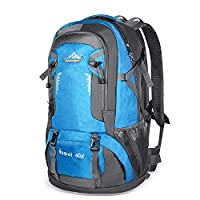 Bonibol 60L Hiking Backpack, Water-resistant Lightweight Trekking Rucksack Backpacking Bag for Hiking, Camping, Travel, etc(Blue)