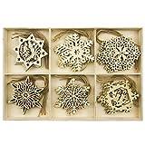 BESTOYARD Christbaumanhänger Holz Schneeflocke Weihnachten Geschenkanhänger Weihnachtsbaum Anhänger 30 Stück