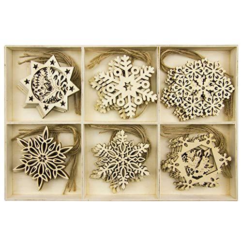 BESTOYARD Christbaumanhänger Holz Schneeflocke Weihnachten Geschenkanhänger Weihnachtsbaum Anhänger 30 Stück (Halloween Hängende Kunst-projekte)