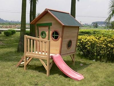 Kinderspielhaus ROSI - Stelzenhaus aus Holz mit roter Rutsche von GreenSeason bei Du und dein Garten