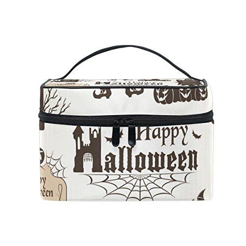 COOSUN Halloween-Elemente Cosmetic Bag Canvas Travel Kulturbeutel Top -