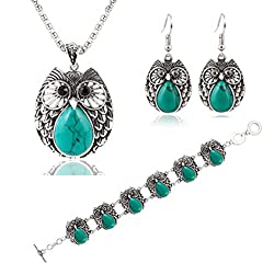 Botrong Turquoise Owl Pendant Tibet Silver Earrings Bracelet Necklace Jewelry Set Gifts from Botrong®