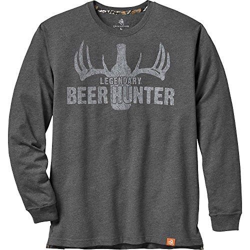 Legendäre WHITETAILS Herren 's legendären Beer Hunter Long Sleeve Tee, Herren, Charcoal Heather (Charcoal Gray Heather)