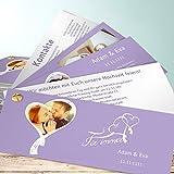 Hochzeitseinladungen Vintage, Flatterndes Band 200 Karten, Kartenfächer 210x80 inkl. weißer Umschläge, Lila