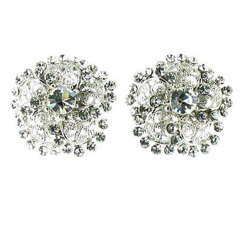 Cristallo trasparente, lunghezza orecchini placcati in argento, con strass - Orecchini Strass Clip Ons