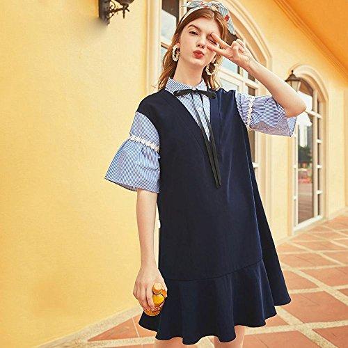 DDF Vestido de verano de las señoras solapa dulce vestido de la falda del paraguas lindo,UN,L