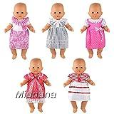 Miunana 5 Robes Mignonnes Robes Colorés pour Poupée 36 cm Poupée Bébé