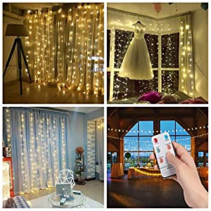 SALCAR LED Stringa 3 * 3m 300 LEDs, Facile da Collegare, Tenda della Stringa LED Decorazione IP44 Impermeabile Interni… 12 spesavip
