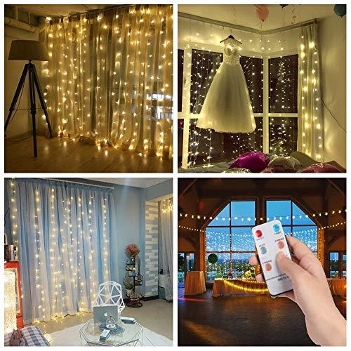 Salcar led stringa 3 * 3m 300 leds, facile da collegare, tenda della stringa led decorazione ip44 impermeabile interni ed esterni, per balcone, salotto, giardino, natale, compleanni (bianco caldo)