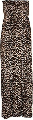 WearAll - Grande taille imprimé bandeau maxi-robe froncé - Léopard