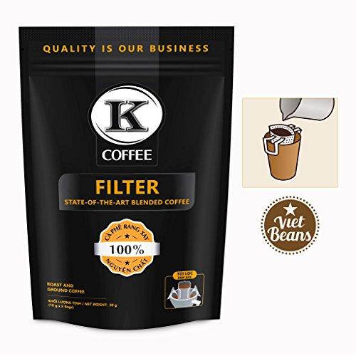 K-Coffee Drip - Pour Over Coffee mit Einwegfilter aus Baumwolle - Praktische Alternative zu Kaffeepads und Kapseln - Vietnamesischer Kaffee - 5x10g