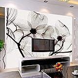 Kuamai Papier Peint Mural Personnalisé 3D Non-Tissé Noir Et Blanc Fleur Peint À La Main Peintures Salon Canapé Tv Mural 3D Papier Peint-250X200Cm