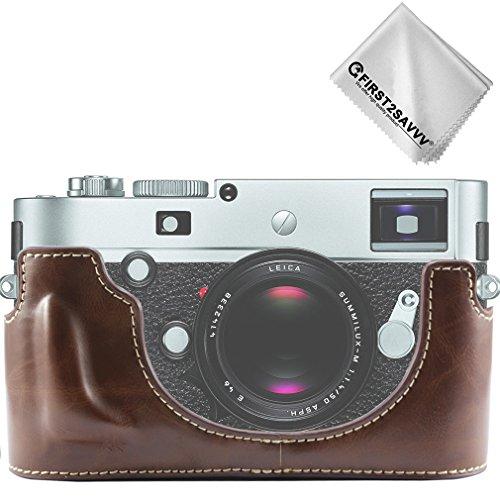 First2savvv dunkelbraun Gehäusehälfte präzise Passform PU-Leder Kameratasche Fall Tasche Cover für Leica M-P TYP 240 - XJPT-Leica M-P -D10G11